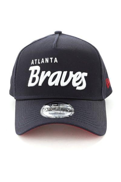 best sneakers 9fdf4 df516 New Era Atlanta Braves Script 9FORTY A-Frame Snapback Navy White ...