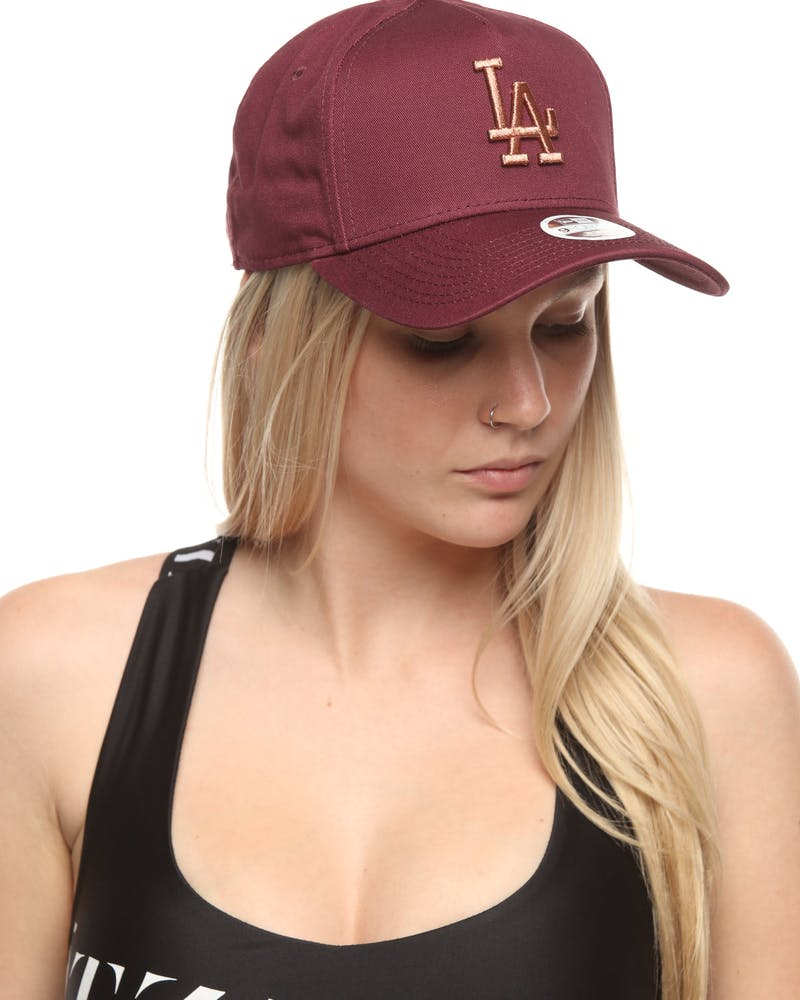 New Era Women's Los Angeles Dodgers 9FORTY A-Frame Strapback Maroon/Rose Gold