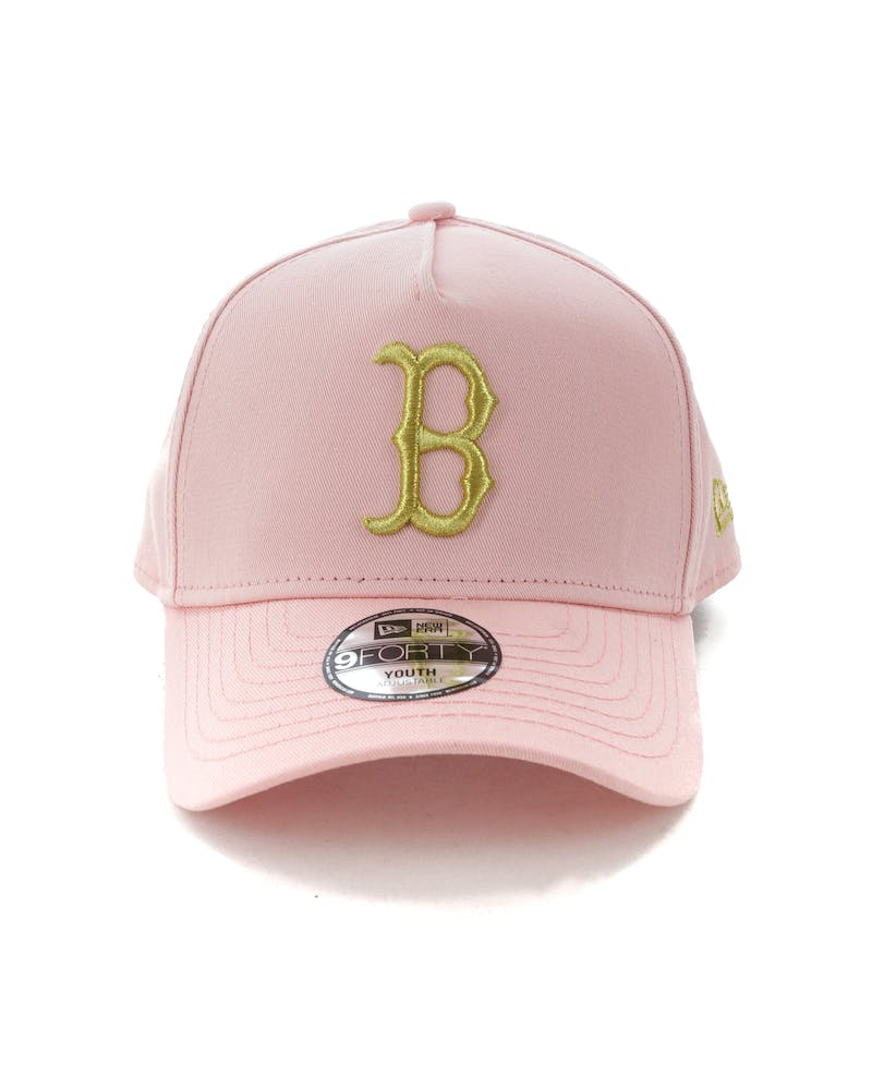 New Era Youth Boston Red Sox 9FORTY A-Frame Strapback Blush/Gold