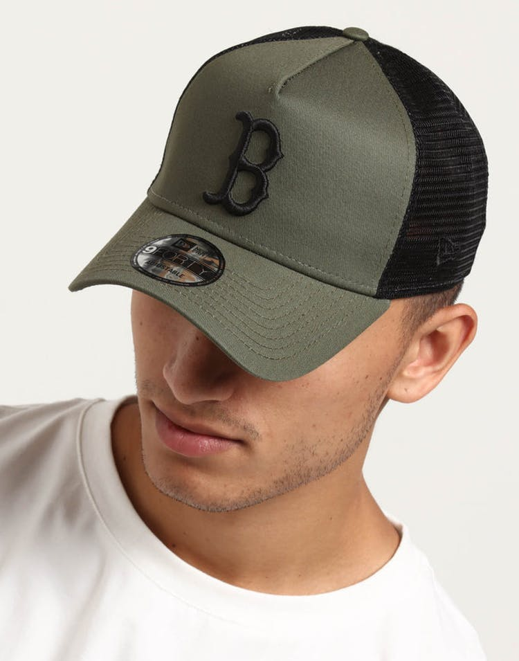 New Era Boston Red Sox 9FORTY A-Frame Trucker Snapback Olive/Black