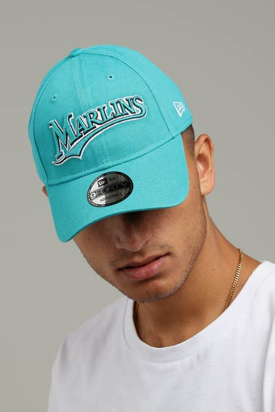 New Era Miami Marlins Coop 9FORTY Cloth Buckle Strapback Teal