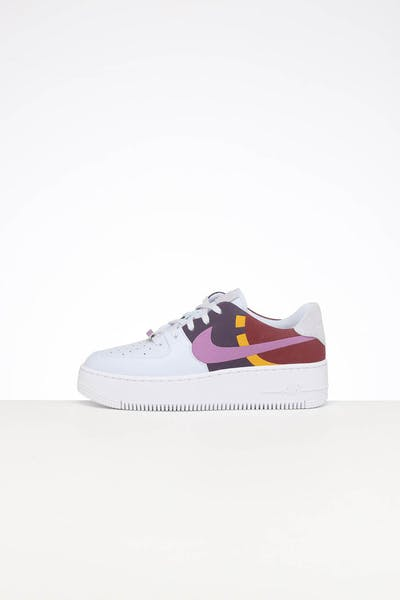 NIKE WOMEN'S AIR FORCE 1 SAGE LOW LX  GREY/DARK ORCHID