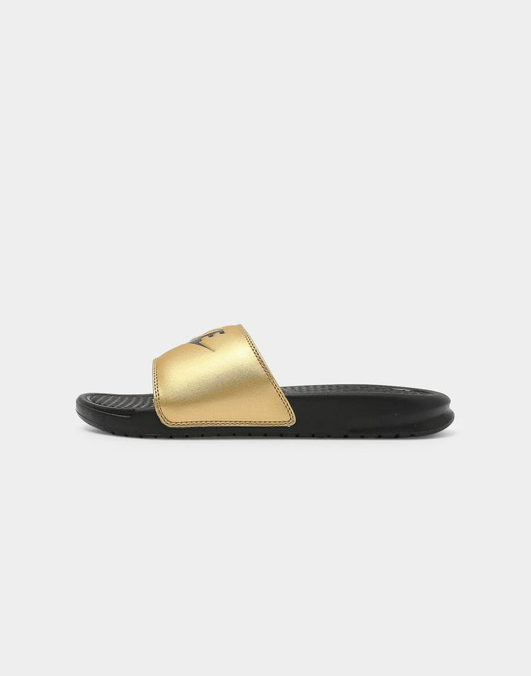 "Nike WOMEN'S BENASSI ""JUST DO IT."" Black/Black/Gold"