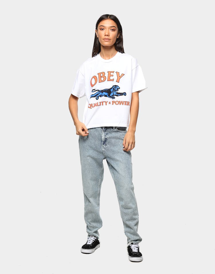Obey Women's Equality & Power Crop T-Shirt White