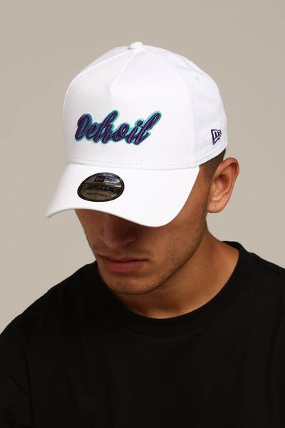New Era Detroit 9FORTY A-Frame Script Snapback White/Purple/Teal