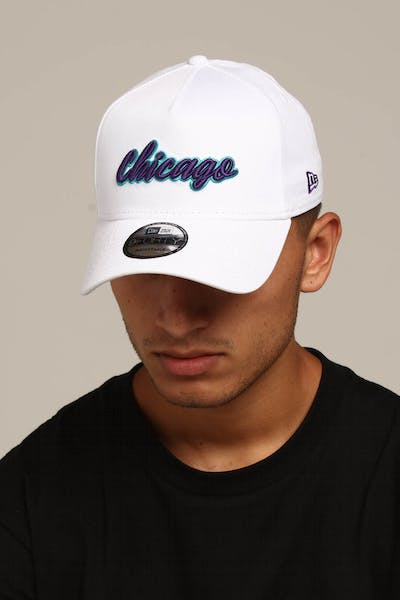 New Era Chicago 9FORTY A-Frame Script Snapback White/Purple/Teal