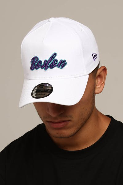 New Era Boston 9FORTY A-Frame Script Snapback White/Purple/Teal