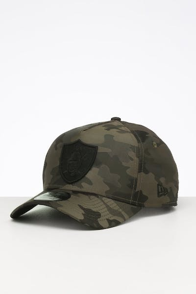New Era Raiders 9FORTY A-Frame Satin Snapback Olive Camo