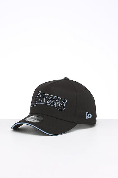 New Era Los Angeles Lakers 9FORTY A-Frame Script Snapback Black/Sky Blue