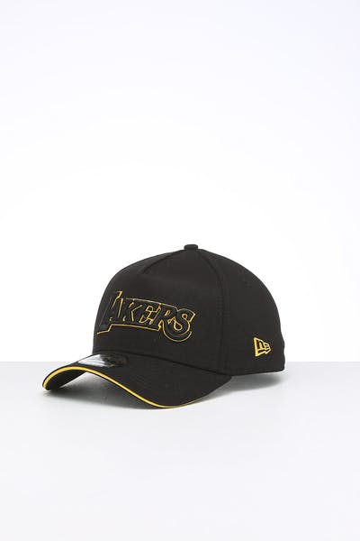 New Era Los Angeles Lakers 9FORTY A-Frame Script Snapback Black/Yellow
