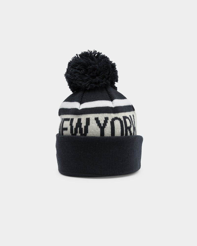 Youth New York Yankees Pom Knit Beanie Navy
