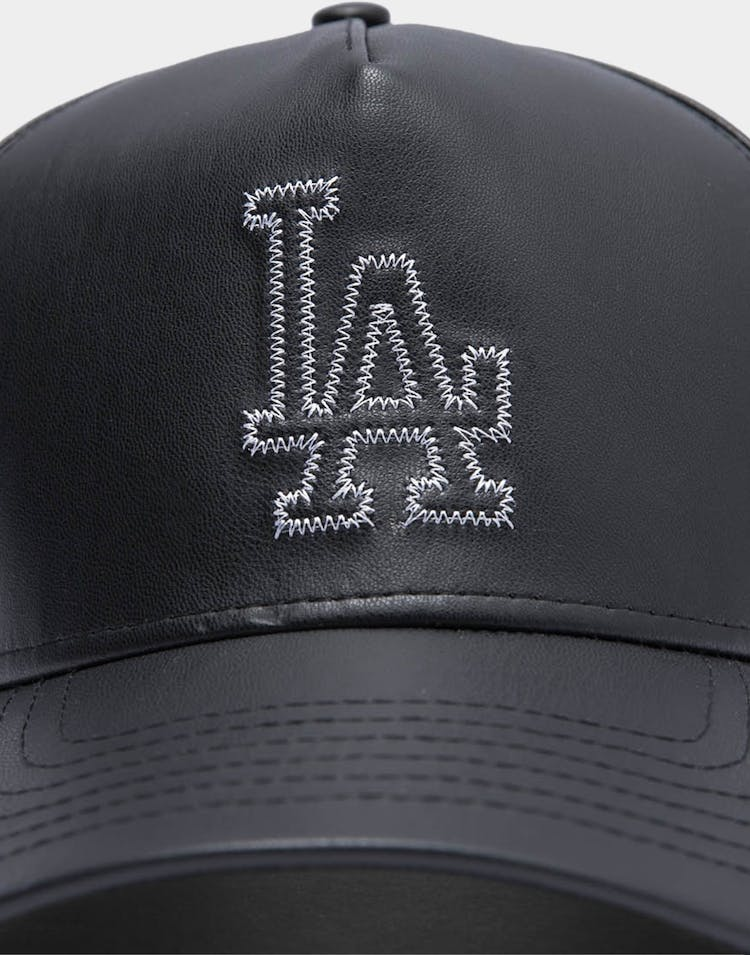 New Era Men's Los Angeles Dodgers Leather Appliqué 9FORTY MLBK-Frame MLB Strapback Black/White
