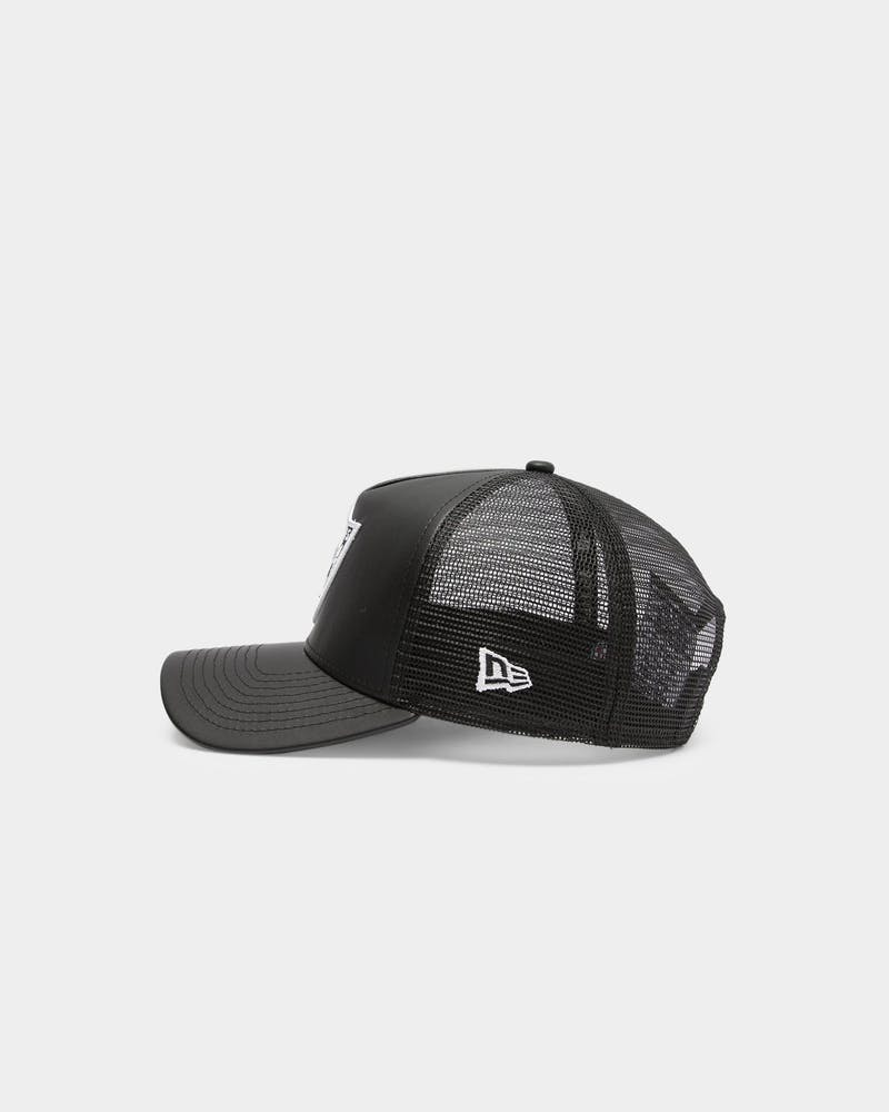 Men's New Era Raiders Leather Trucker Black/White