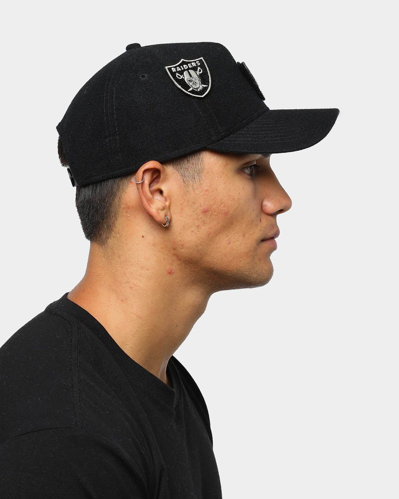 Men's New Era Raiders Interchangeable Patch 9FORTY A-Frame Snapback Black