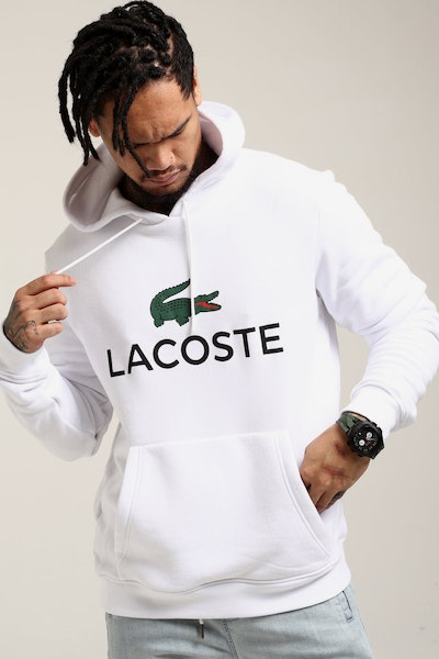 Lacoste Hooded Logo Pull Over White