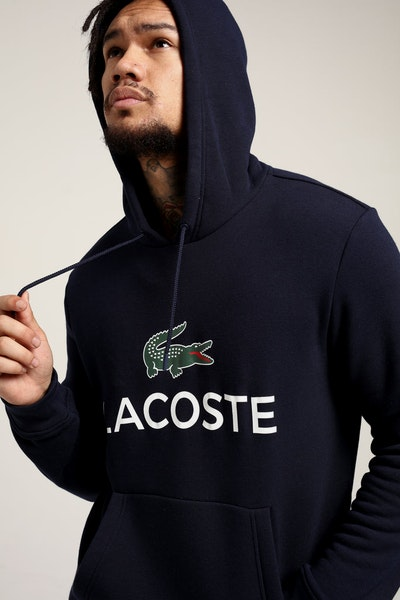 Lacoste Hooded Logo Pull Over Navy