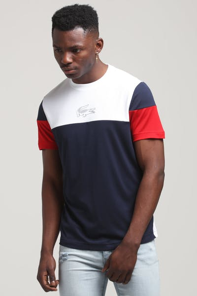 Lacoste Colour Block Logo Tee White/Navy/Red