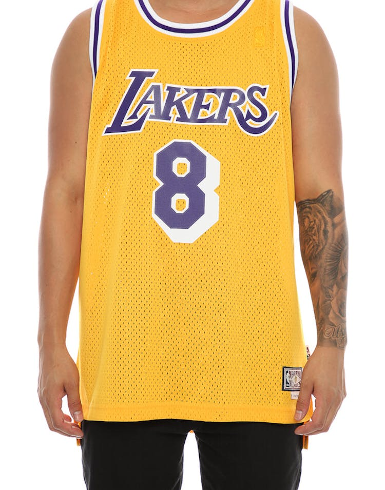 92090433 Adidas Hardwood Classics Retired Jersey Los Angeles Lakers Kobe Bryant '8'  Yellow