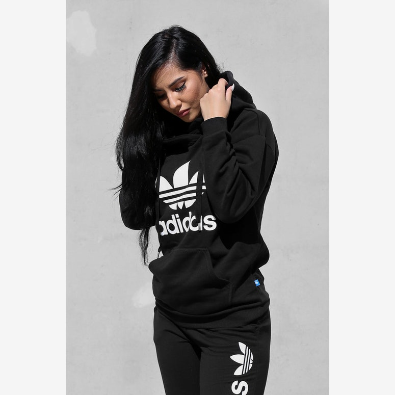 3b42167ea87c8 Adidas Originals Women s Trefoil Hoodie Black – Culture Kings US