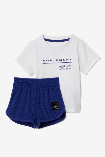 Adidas Infant EQT Tee and Shorts Set Ink/White