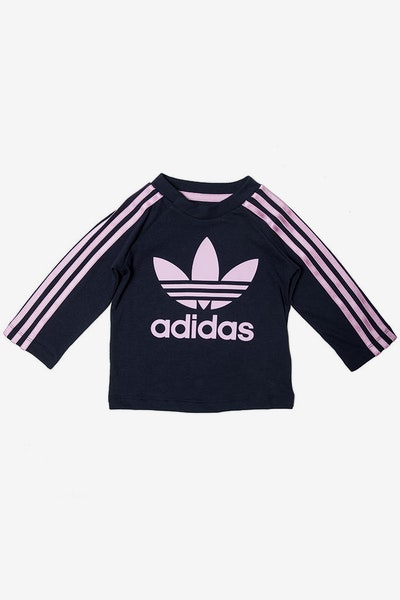 Adidas Infant 3 Stripes L/S Tee Navy/Pink