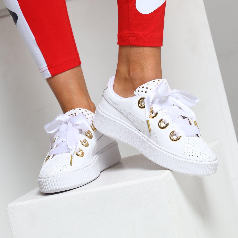 Puma Women's Platform Kiss ATH Lux White/Gold