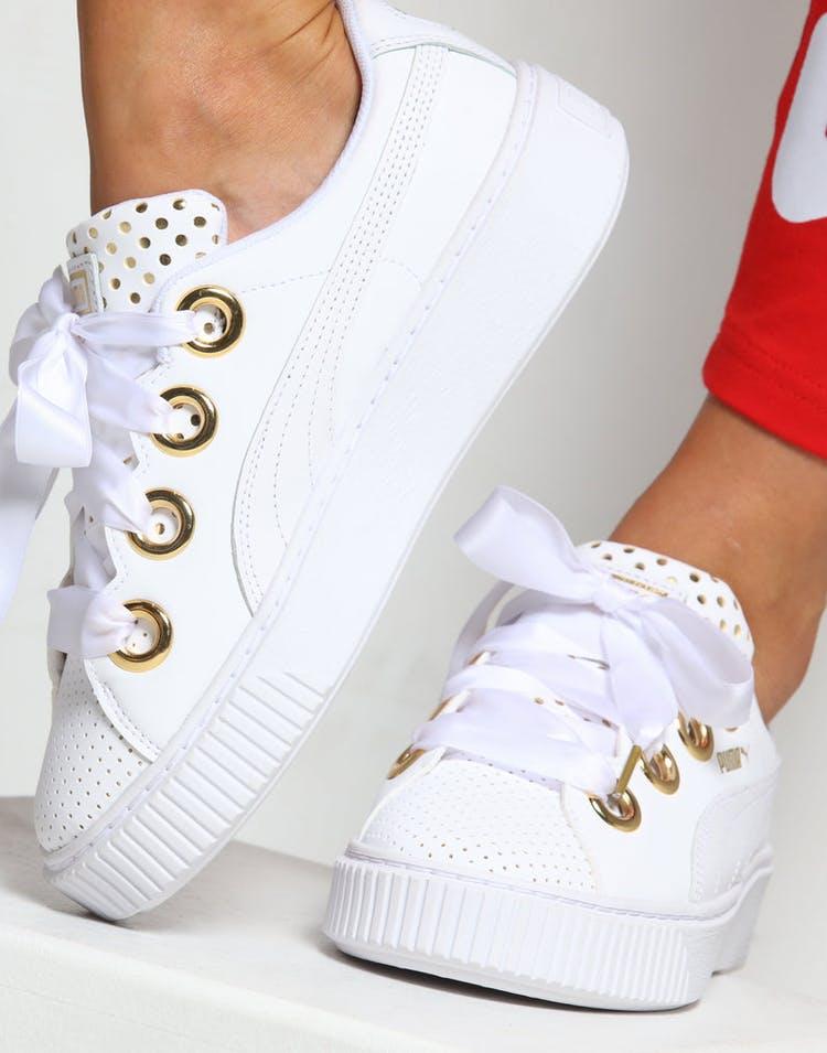 357f5ec2 Puma Women's Platform Kiss ATH Lux White/Gold