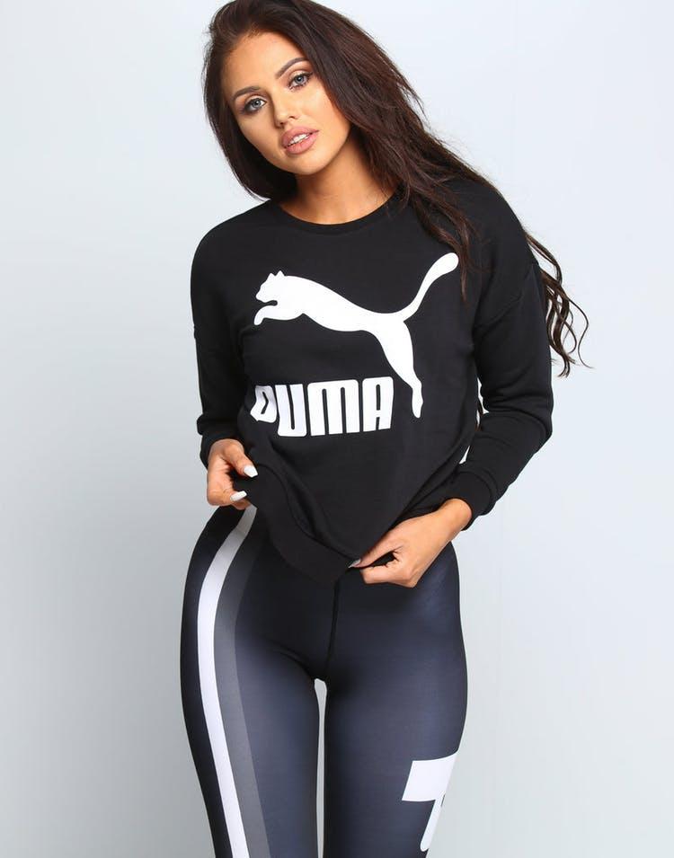 199d1ec5 Puma Women's Classics Logo Crew Heather Black