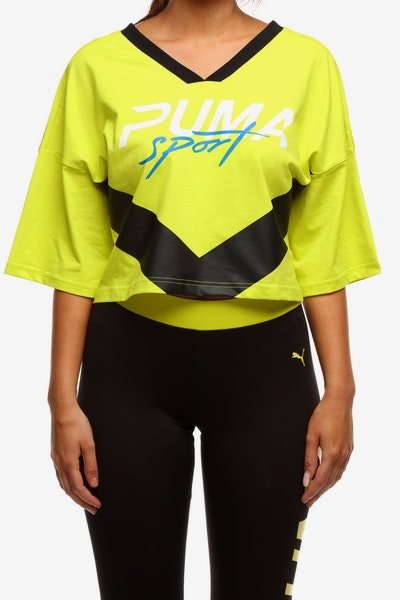 Puma Women's Xtreme Cropped V-Neck Yellow