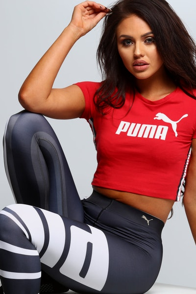 Puma Women's Tape Logo Cropped Tee Red