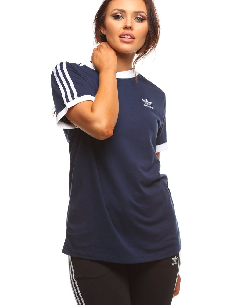 Adidas Women's 3 Stripes Tee Navy