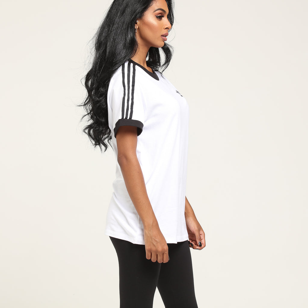 adidas 3 stripes tee white