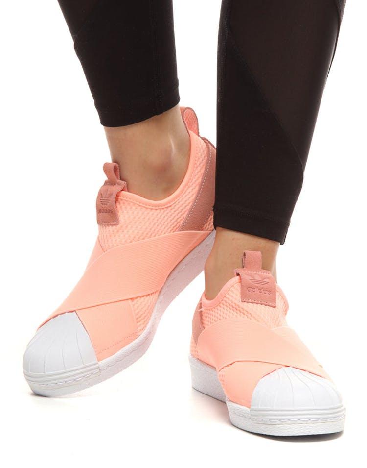 reputable site c84e4 85f9d Adidas Women's Superstar Slip On Clear Orange/White