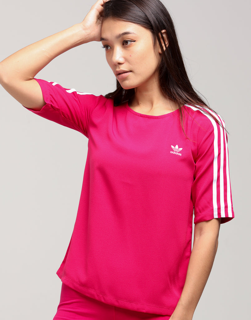 Adidas Women's 3 Stripes Tee Dark Pink