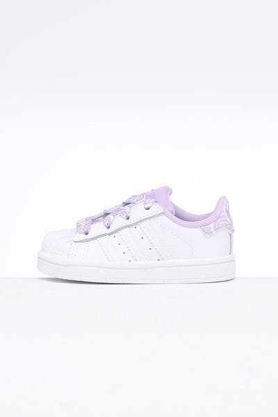 sale retailer 1bd9f 413d1 Adidas Toddler Superstar I White Purple