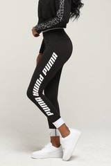 PUMA WOMEN'S MODERN SPORTS FOLDUP LEGGING BLACK/WHITE