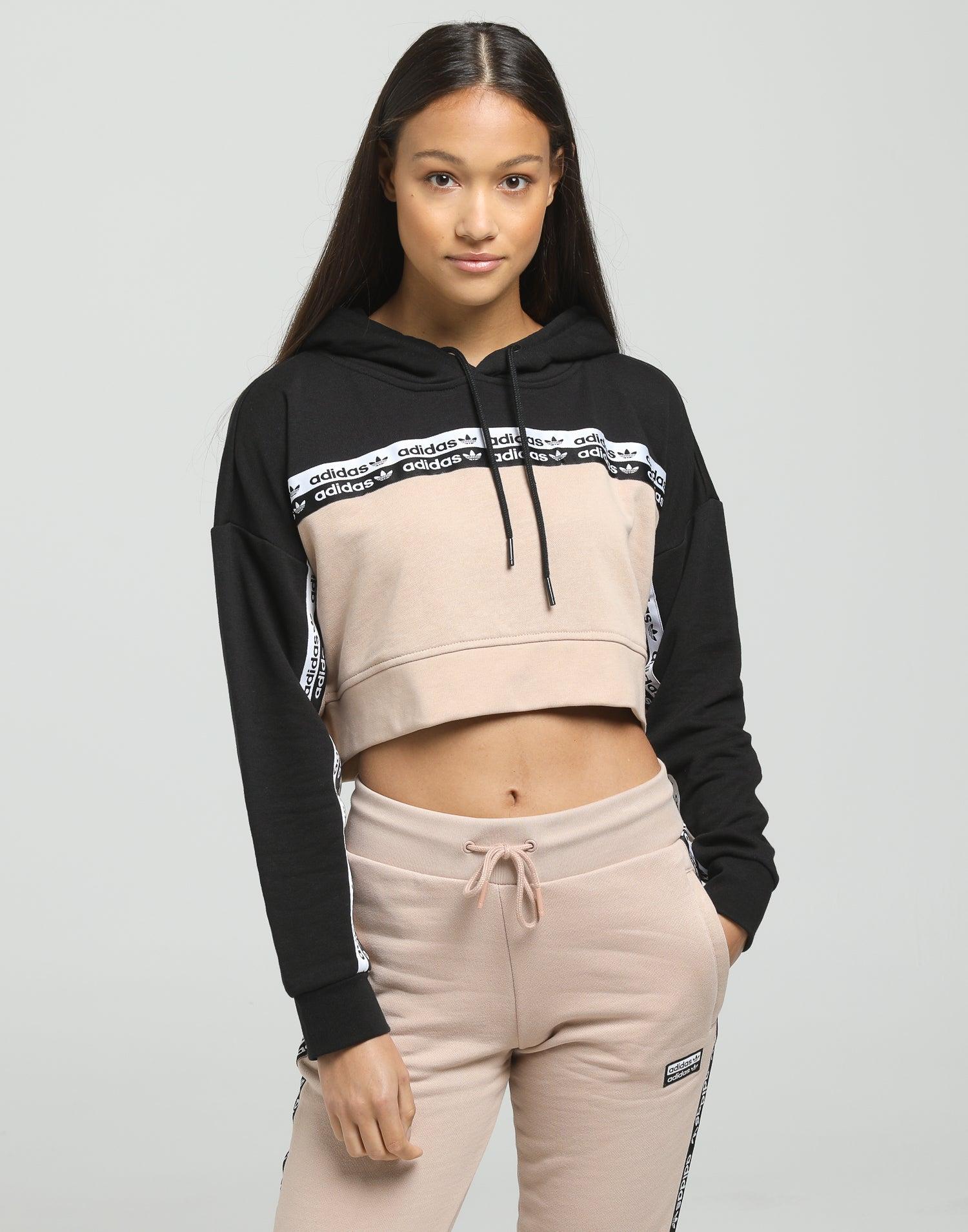Adidas Women's Cropped Hoodie Ash PearlBlack