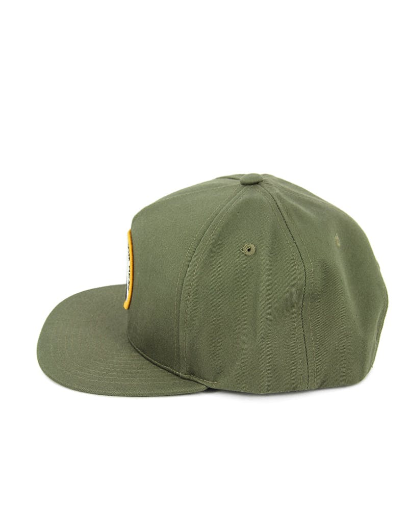 Spike Leather Strapback Olive