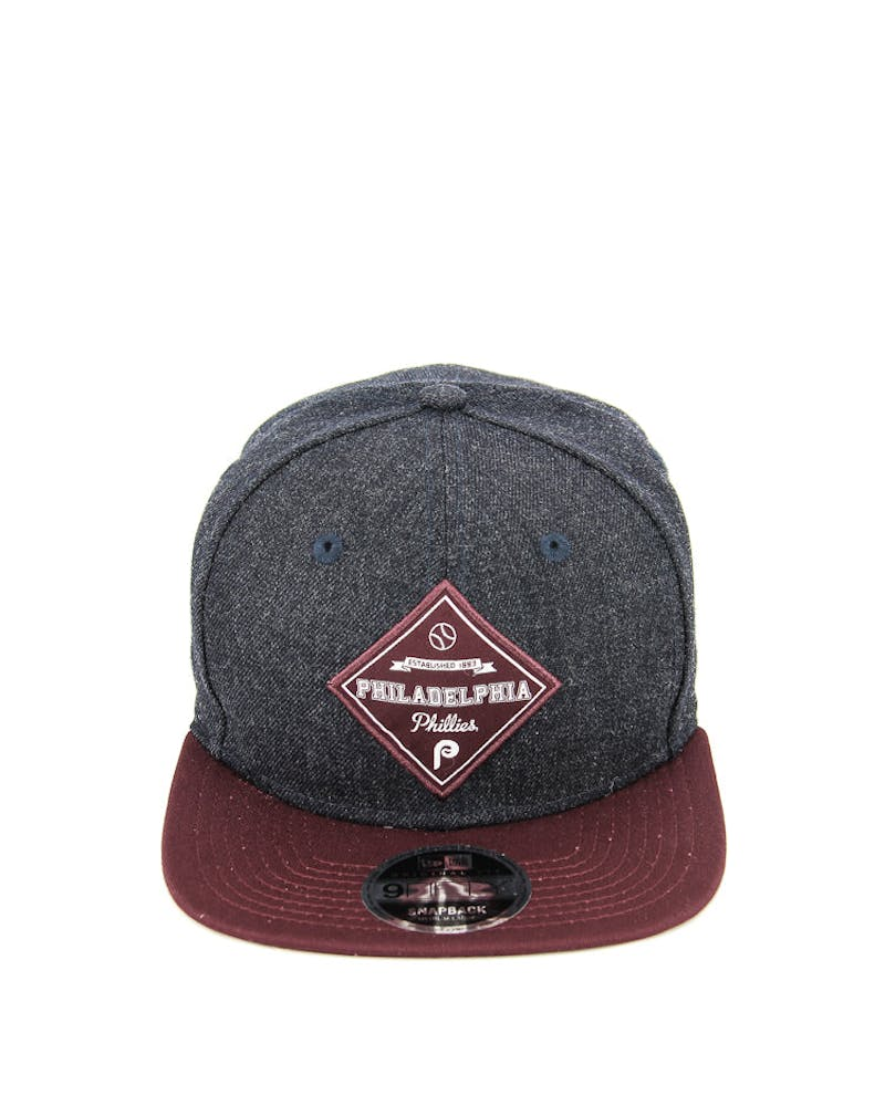 New Era Phillies Heather Patch of Snapback Heather Navy