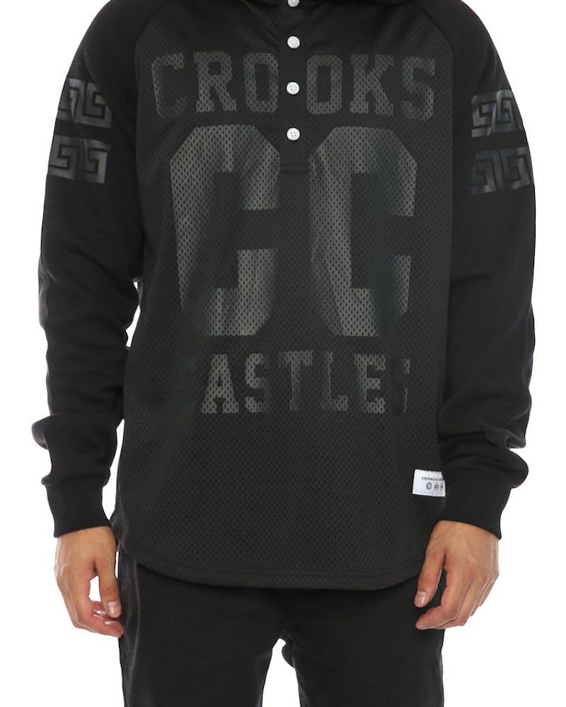 Crooks & Castles Chaser Hooded Henley Black