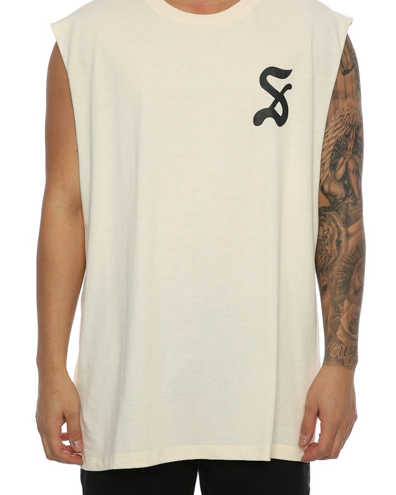 Saint Morta Gothic Oversized Muscle Tee Off White