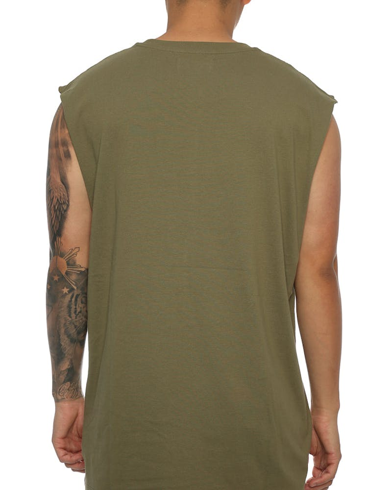 Saint Morta Monogram Oversized Muscle Tee Pale Green