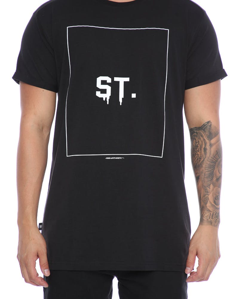 Saint Morta ST Box Logo Rocky Tee Black