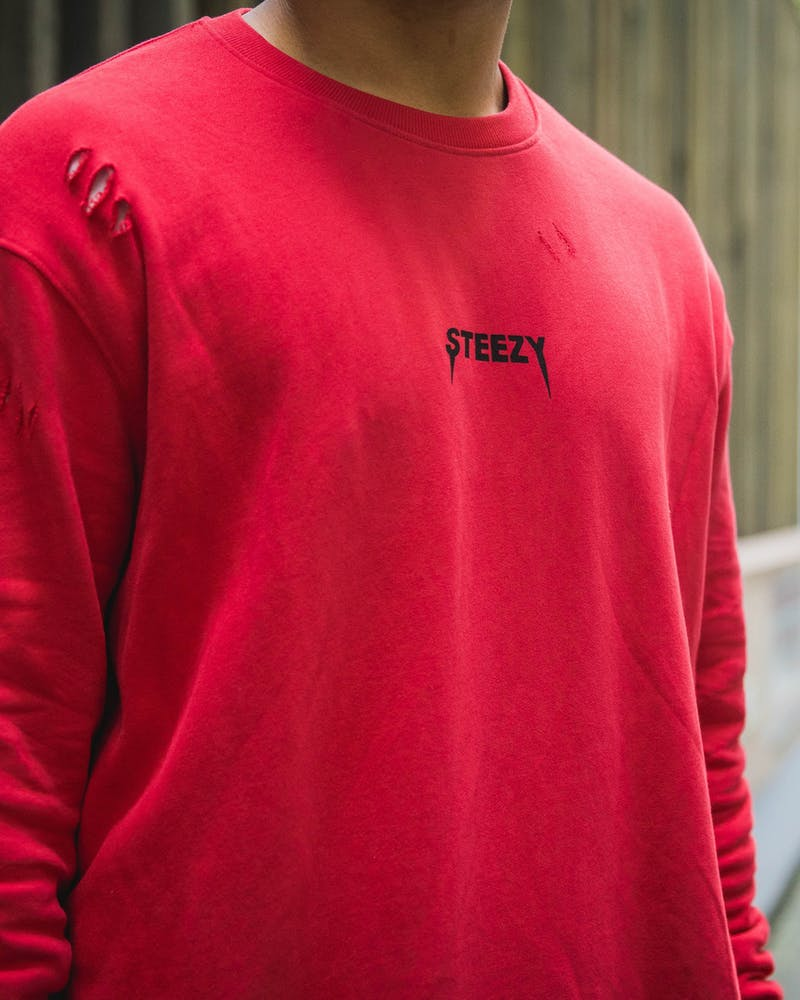 Loiter NYC Steezy Distressed Sweater Red