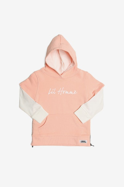 Lil Homme Ninja Layered Hoody Peach/Off White