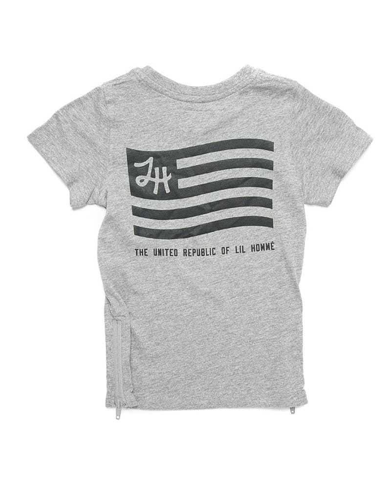 Lil Homme Lil U.R.L.H Capone S/S Tee Grey Marle