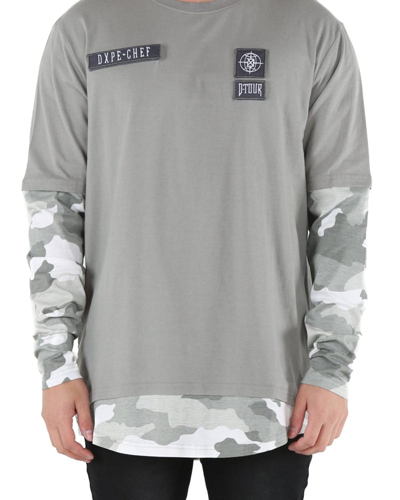 DXPE Chef Oversized Layered Camo Long Sleeve Tee Grey