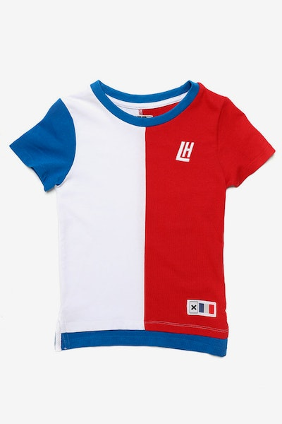 Lil Homme Collier SS Tee White/Blue/Red