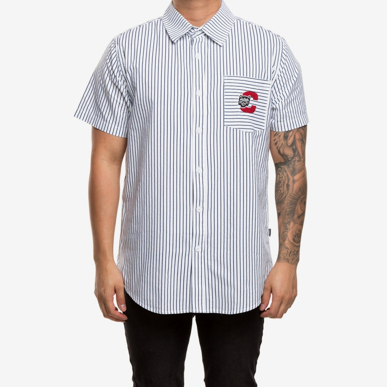 Carré Premier Short Sleeve Button Up Navy/White