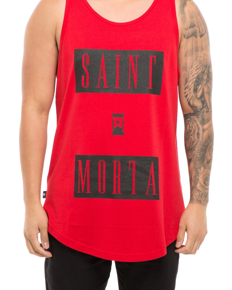 Saint Morta The Hour El Duplo Hem Muscle Tee Red